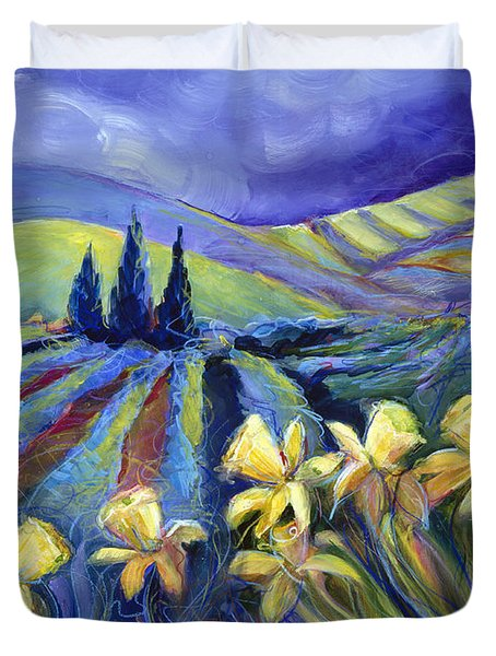 Daffodils And Stormclouds Duvet Cover