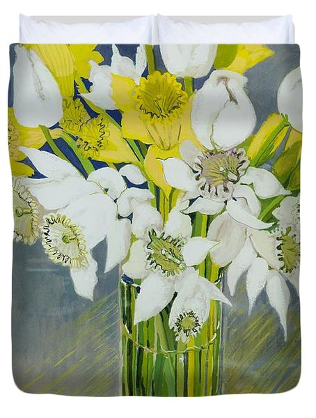 Daffodils And White Tulips In An Octagonal Glass Vase Duvet Cover by Joan Thewsey