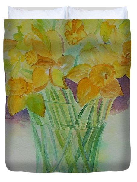 Daffodils In Glass Vase - Watercolor - Still Life Duvet Cover
