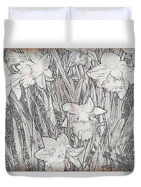 Duvet Cover featuring the photograph Daffodils by Judy Palkimas