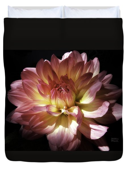 Dahlia Burst Of Pink And Yellow Duvet Cover