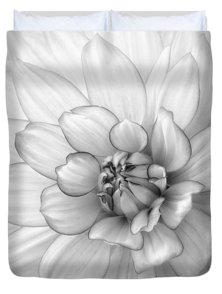 Dahlia Flower Black And White Duvet Cover