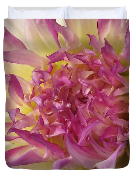 Duvet Cover featuring the photograph Dahlia Named Angela Dodi by J McCombie