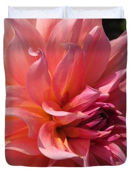 Duvet Cover featuring the photograph Dahlia Named Fire Magic by J McCombie