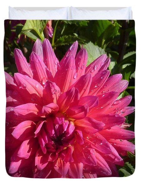 Duvet Cover featuring the photograph Dahlia Pink by Susan Garren