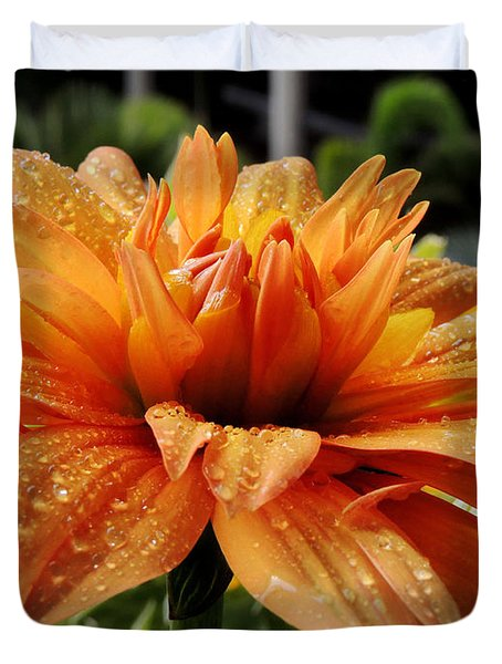 Dahlia Raindrops Duvet Cover by Kristine Merc