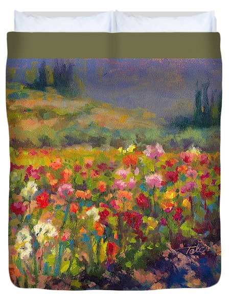 Duvet Cover featuring the painting Dahlia Row by Talya Johnson