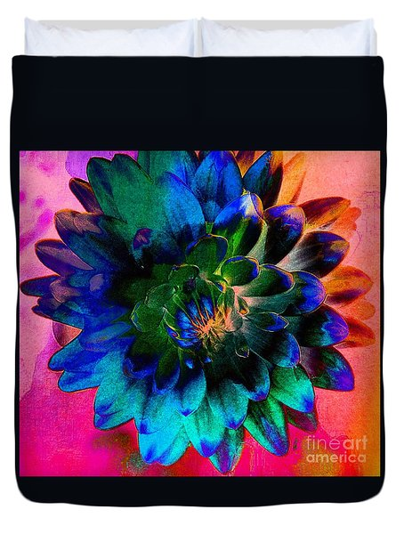 Dahlia With Textures Duvet Cover by Kathleen Struckle