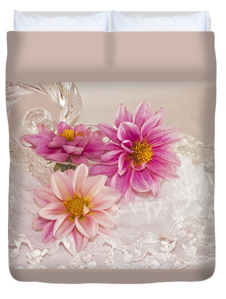 Duvet Cover featuring the photograph Dahlias And Lace by Sandra Foster