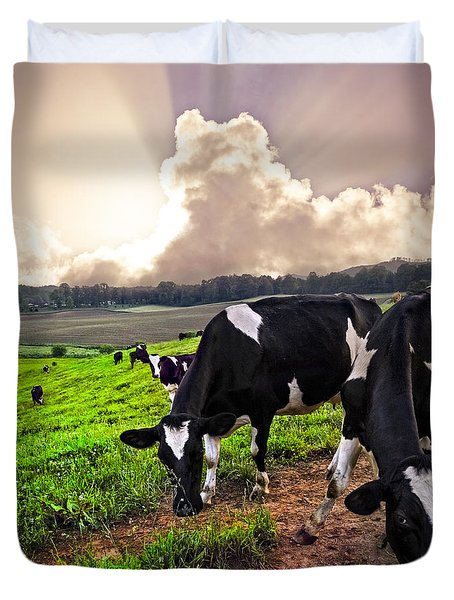 Dairy Cows At Sunset Duvet Cover by Debra and Dave Vanderlaan