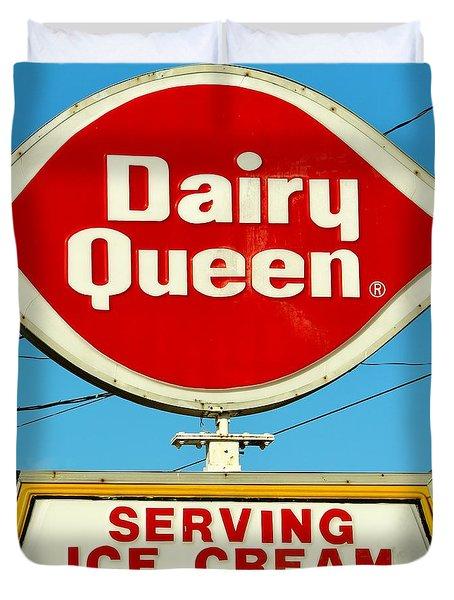 Dairy Queen Sign Duvet Cover by Cynthia Guinn