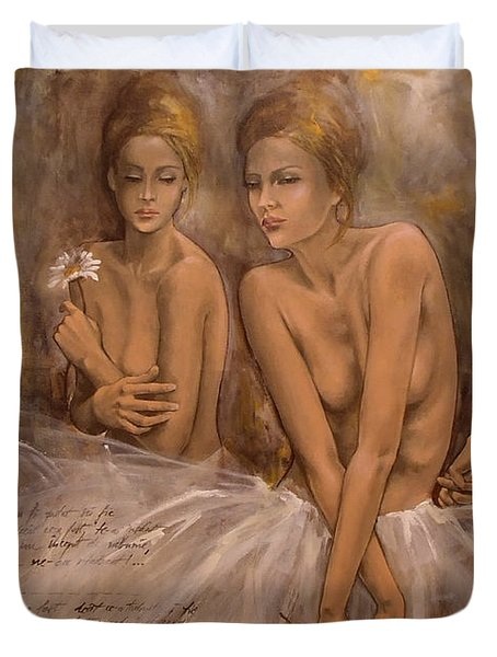 Daisies And Doubts Duvet Cover by Dorina  Costras