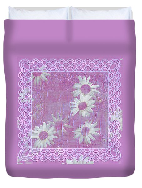 Duvet Cover featuring the photograph Daisies And Paper Lace by Sandra Foster