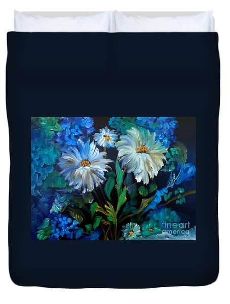 Daisies At Midnight Duvet Cover