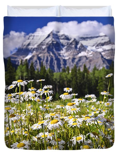 Daisies At Mount Robson Duvet Cover by Elena Elisseeva