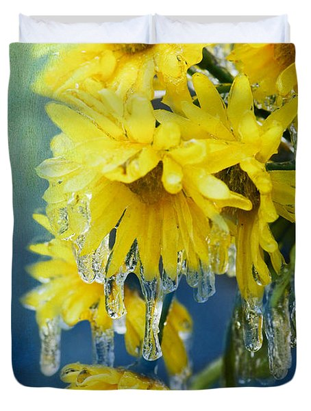 Daisies In Ice Duvet Cover by Betty LaRue