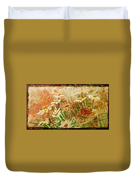 Daisies In The Wind Duvet Cover by Carolyn Rosenberger