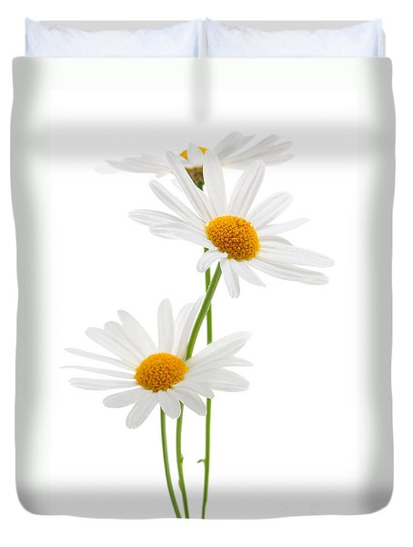 Daisies On White Background Duvet Cover
