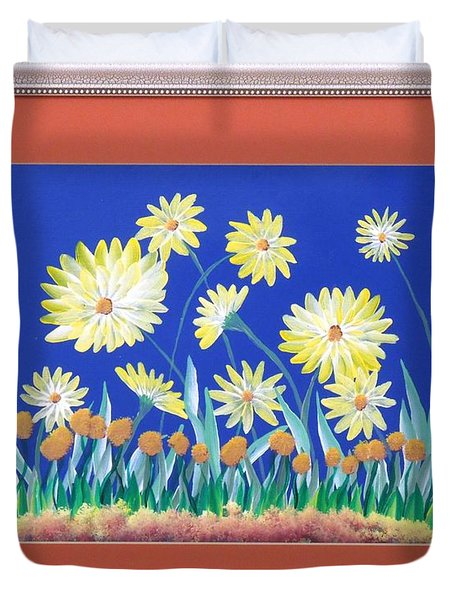 Duvet Cover featuring the painting Daisies by Ron Davidson