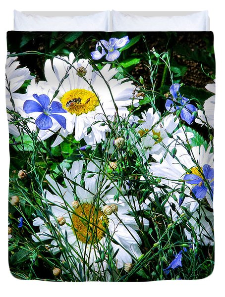 Daisies With Blue Flax And Bee Duvet Cover by Roselynne Broussard