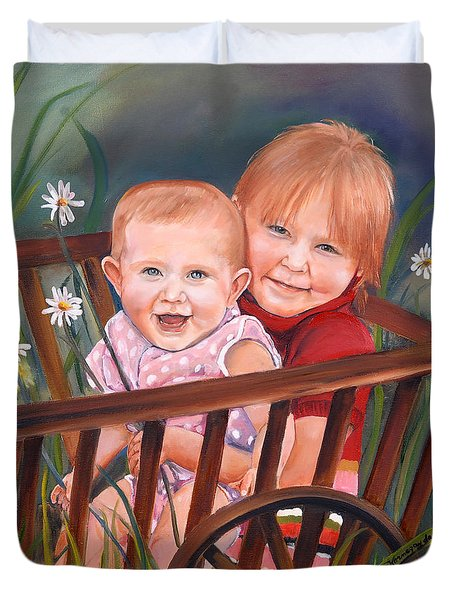 Daisy - Portrait - Girls In Wagon Duvet Cover