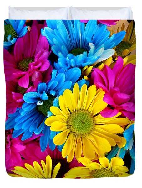 Duvet Cover featuring the photograph Daisys Flowers Bloom Colorful Petals Nature by Paul Fearn