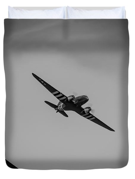 Duvet Cover featuring the photograph Dakota D-day Black And White by Scott Lyons