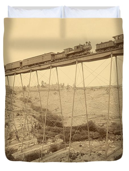Dale Creek Bridge Union Pacific Duvet Cover by Getty Research Institute