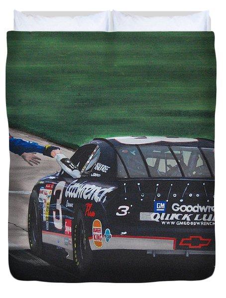 Dale Earnhardt Wins Daytona 500-pit Road Hand Shake Duvet Cover by Paul Kuras