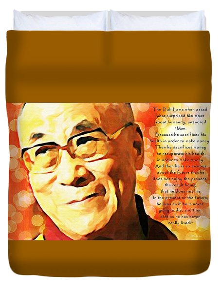 Dali Lama And Man Duvet Cover by Barbara Chichester
