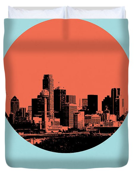 Dallas Circle Poster 1 Duvet Cover by Naxart Studio