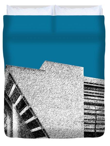 Dallas Skyline City Hall - Steel Duvet Cover