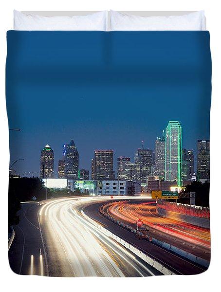 Dallas Night Skyline Light Trails Duvet Cover