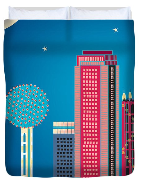 Dallas Nightime Skyline Duvet Cover by Karen Young