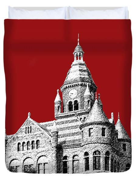 Dallas Skyline Old Red Courthouse - Dark Red Duvet Cover
