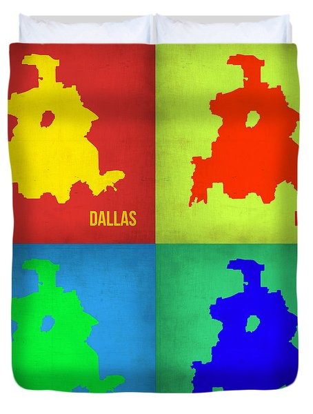 Dallas Pop Art Map 1 Duvet Cover