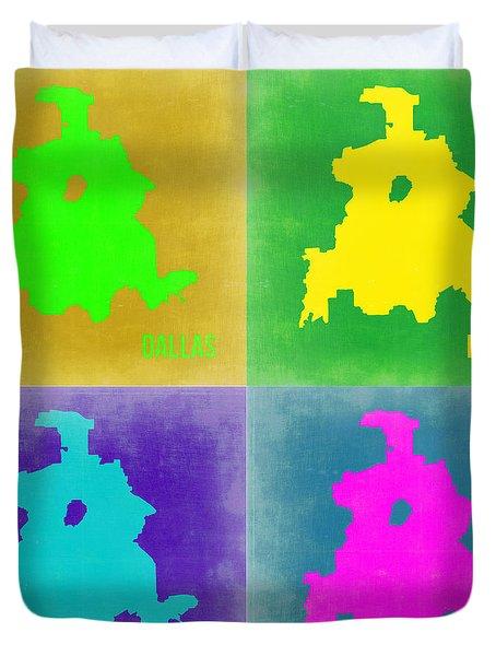 Dallas Pop Art Map 2 Duvet Cover by Naxart Studio
