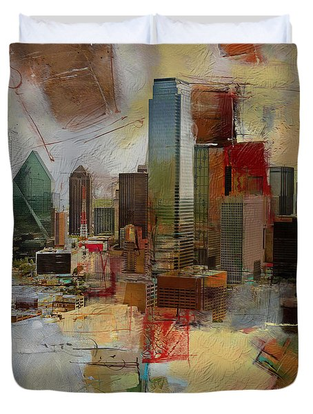 Dallas Skyline 003 Duvet Cover by Corporate Art Task Force