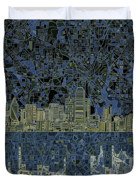 Dallas Skyline Abstract 2 Duvet Cover