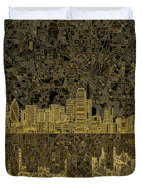 Dallas Skyline Abstract 3 Duvet Cover