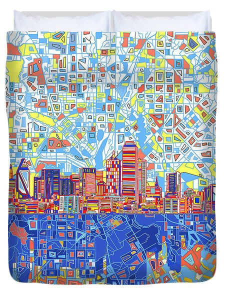 Dallas Skyline Abstract 5 Duvet Cover