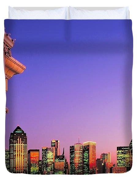 Dallas Skyline At Dusk Duvet Cover