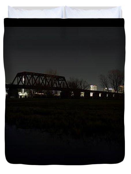 Dallas Skyline Hunt Bridge Color Duvet Cover