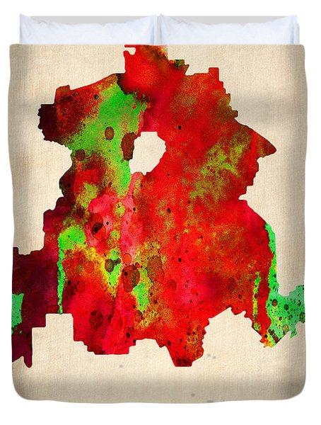 Dallas Watercolor Map Duvet Cover by Naxart Studio