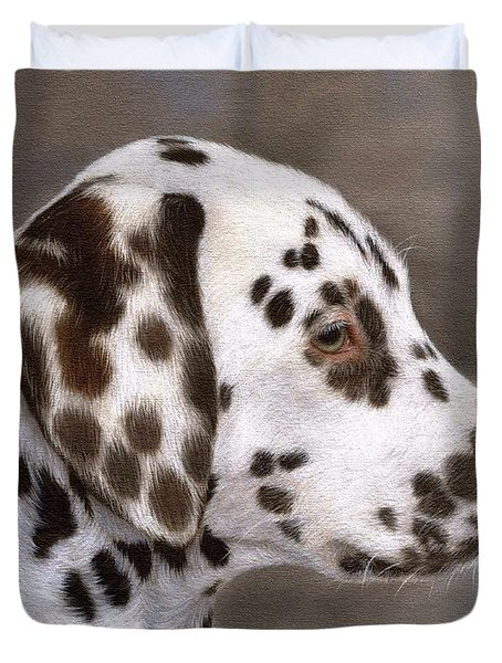 Dalmatian Puppy Painting Duvet Cover