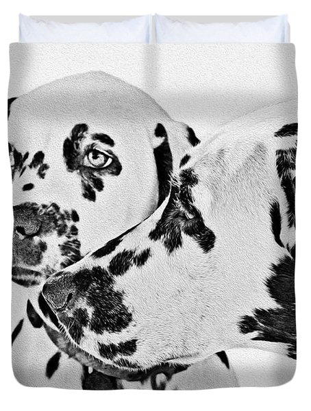 Dalmatians - A Great Breed For The Right Family Duvet Cover by Christine Till