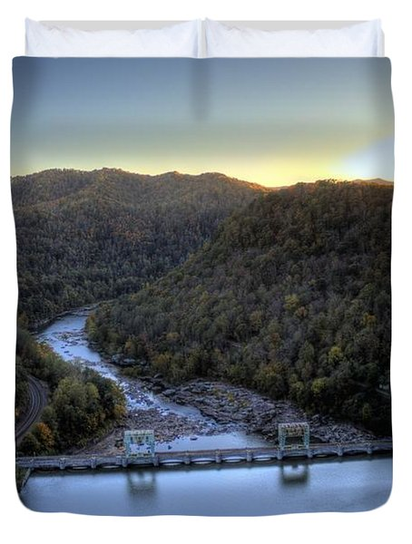Duvet Cover featuring the photograph Dam Across The River by Jonny D