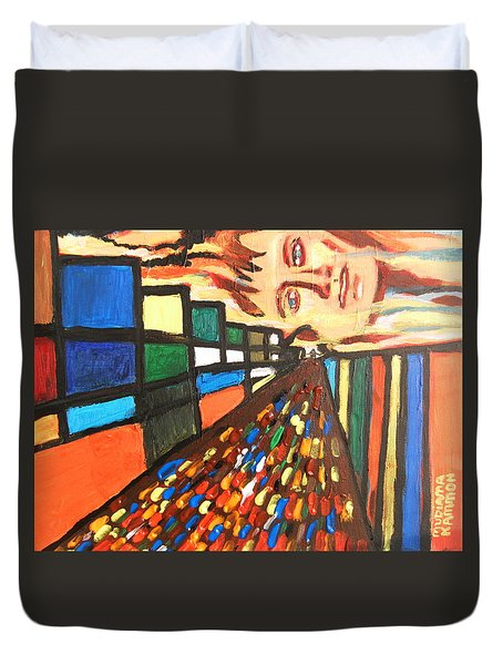 Duvet Cover featuring the painting Dame Tessa 01 by Mudiama Kammoh