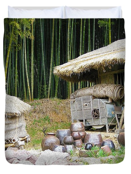 Damyang Bamboo Forests Duvet Cover by Lanjee Chee