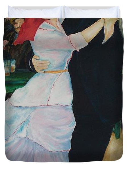 Duvet Cover featuring the painting Dance At Bougival Renoir by Eric  Schiabor
